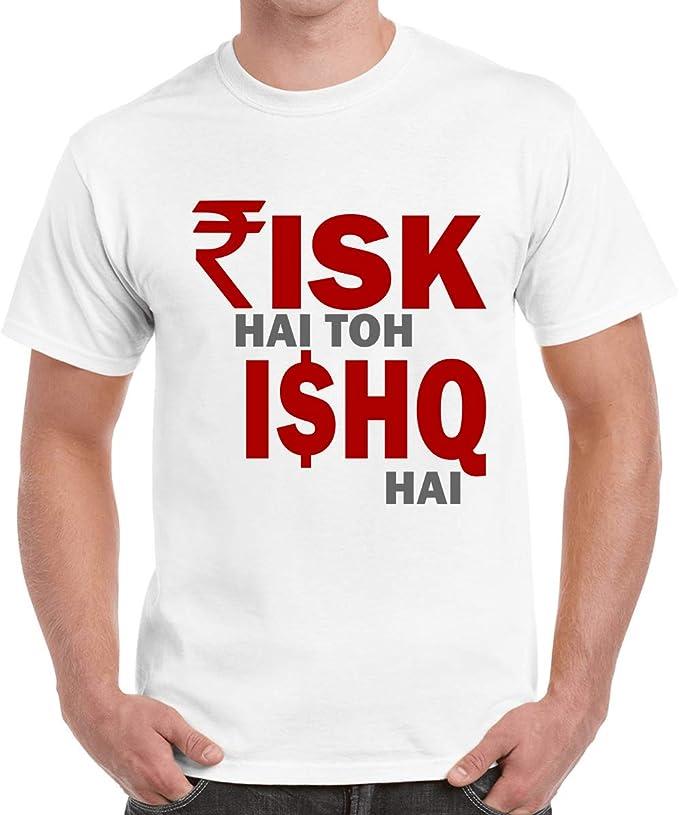 Caseria Men's Cotton Graphic Printed Half Sleeve T-Shirt - Ishq Hai