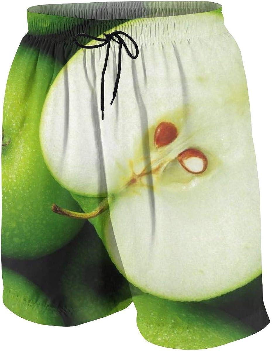 ALLMYHOMEDECOR Teen Beach Shorts Trunks Swim Board Shorts Green Apple Fruit Pattern Swimsuit