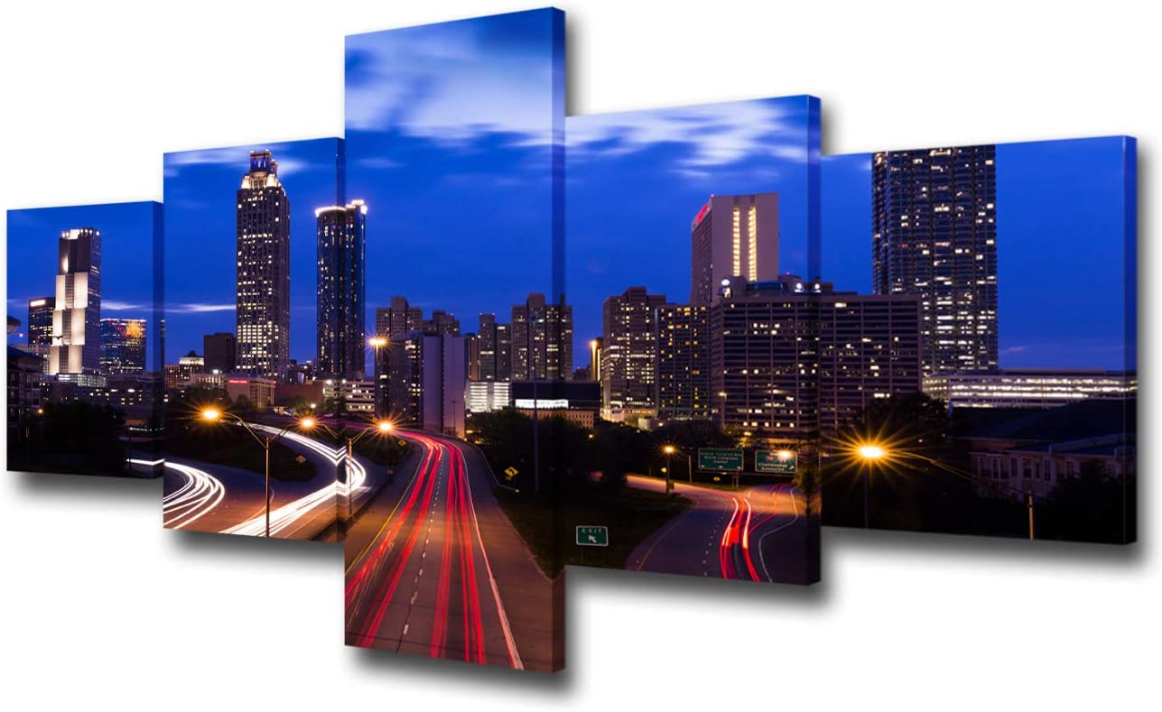 Canvas Wall Art for Living Room Atlanta-Georgia Picturfes United States Cityscape Paintings 5 Piece Canvas Modern Artwork Home Decor for Living Room Framed Gallery-wrapped Ready to Hang(50''Wx24''H)