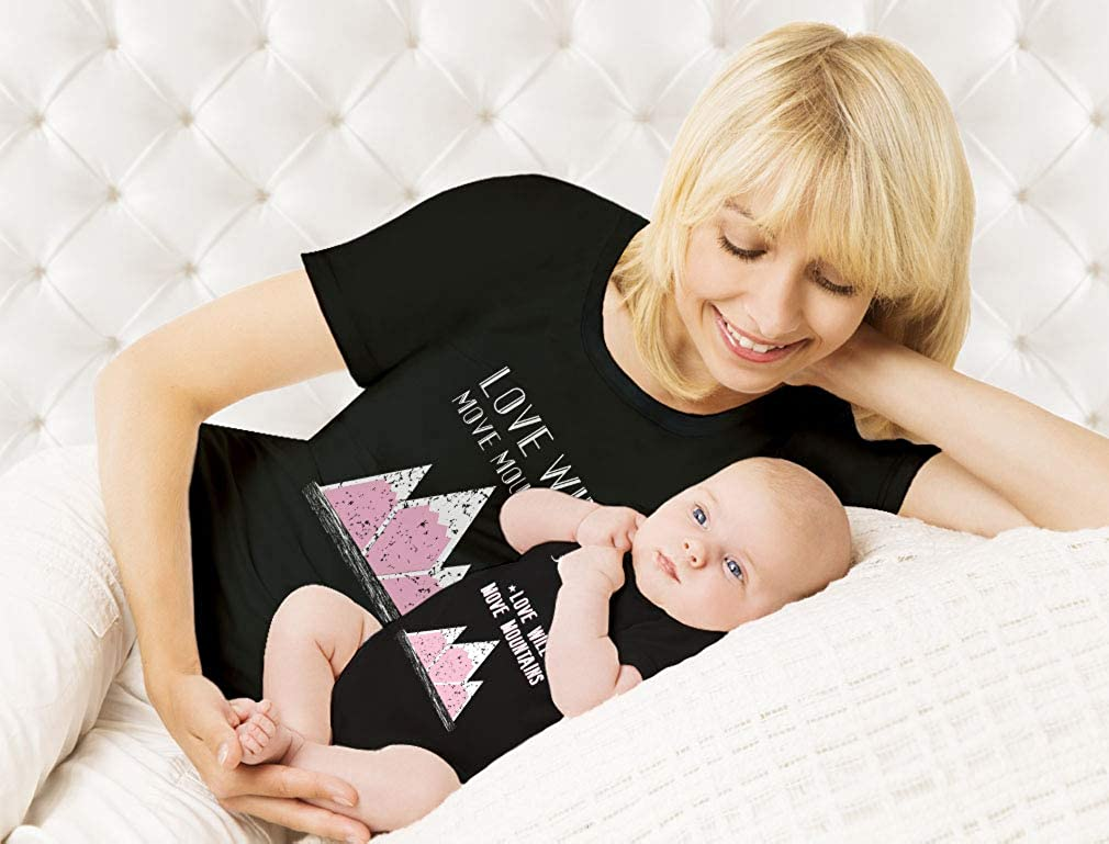 Love Will Move Mountains Camping Mommy /& Me Gifts Mother /& Baby Matching Set
