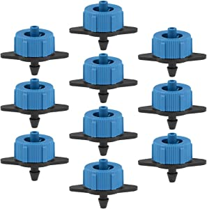 uxcell Pressure Compensating Dripper 2 GPH 8L/H Emitter for Garden Lawn Drip Irrigation with Barbed Hose Connector, Plastic Black Blue 25pcs