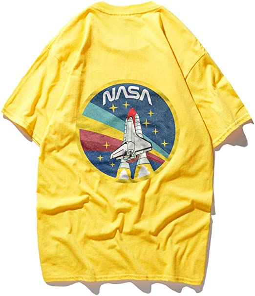TNM Hombres La NASA del Transbordador Espacial Camisa - NASA Worm Logo Confeti Camiseta de Las Estrellas,Amarillo,S: Amazon.es: Hogar