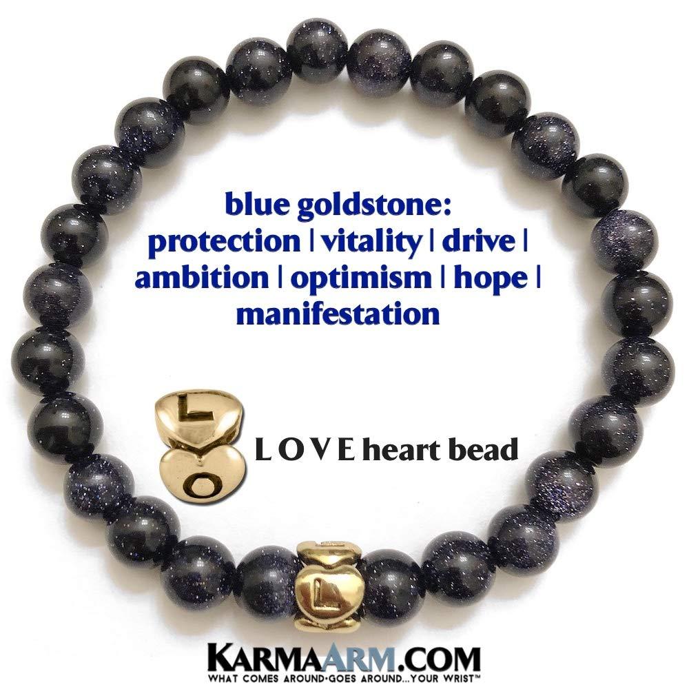 KarmaArm Love Jewelry Meditation Boho Bracelets Dream Lover Blue Goldstone Reiki Yoga Chakra Bracelets