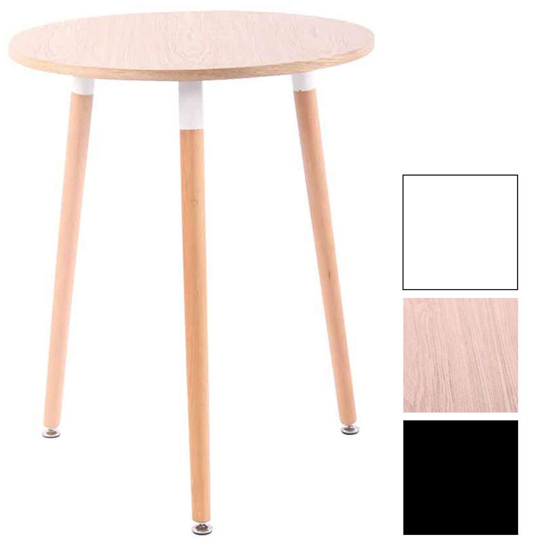 Tavolino Tondo Cucina Sala da Pranzo /Ø 60 cm Tre Gambe con Tasselli AntiGraffio Natura Natura CLP Tavolino da Cucina Scandinavo Amalie in Legno