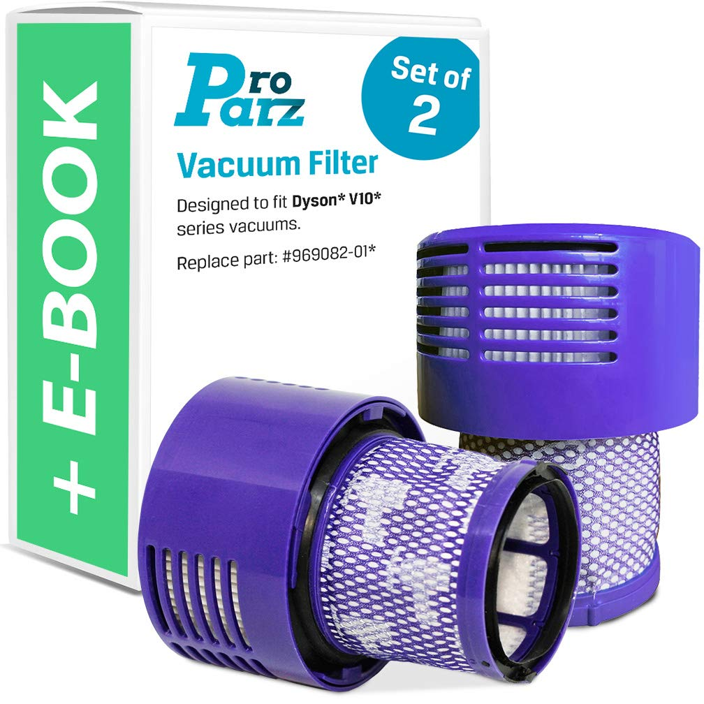 ProParz Filter Replacements for Dyson V10, SV12 - Includes Bonus E-Book - Replaces Part DY-969082-01 - 2-Pack