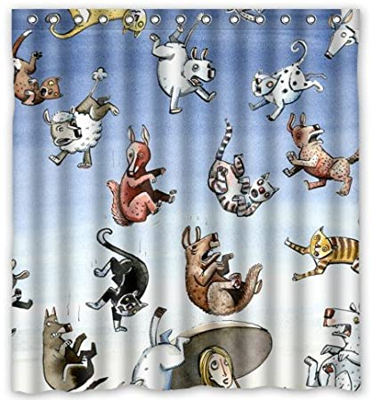 Amazon Raining Cats And Dogs Waterproof Shower Curtain 66 X