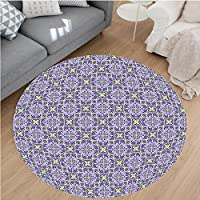 Nalahome Modern Flannel Microfiber Non-Slip Machine Washable Round Area Rug-andala Style Ornate Floral Motifs Pattern Ethnic Oriental Tile Artwork Purple Lilac Green area rugs Home Decor-Round 36