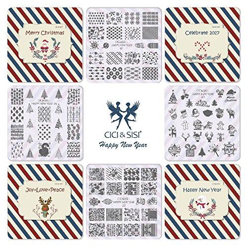 CICI&SISI Christmas Nail Art Stamping Plates Kit Stamp Pl...