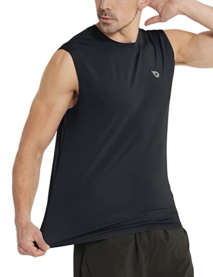 579d89d4 Baleaf Men's Performance Quick-Dry Muscle Sleeveless Shirt Tank Top Black  Size S