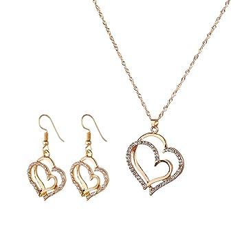 Qinlee Herzform Halskette Ohrhänger Set Kreative Doppeltes