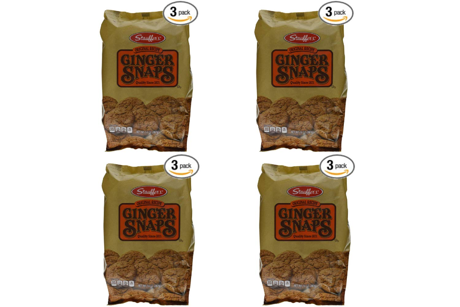 Stauffers Cookie Ginger Snap, Original, 14 Ounce (Pack of 3) (4 Pack)