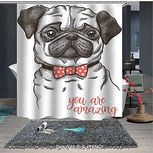 (Interesting shower curtain Portrait of Dog Cartoon Style Bow Tie on a Pug Pet Fun Comedic Image Fashionable Animal (72W x 72L Inch) Colorful,bold design, waterproof, Easy to care ,privacy protection)