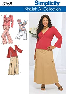 product image for Simplicity 3768 Cap or Bell Sleeve Top Pants Skirt & Shorts Khaliah Ali Womens Plus Size