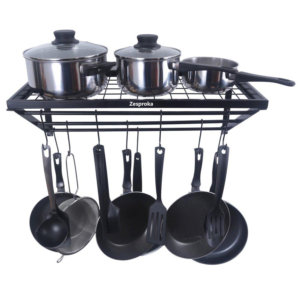 ZESPROKA Kitchen Wall Pot Pan Rack,With 10 Hooks,Black by ZESPROKA (Image #3)