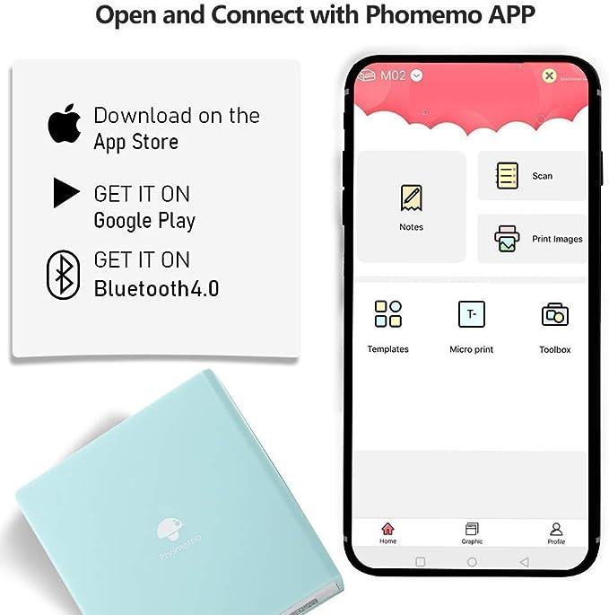 Phomemo M02S Impresora Fotos Port/átil Mini Impresora M/óvil Impresora Bluetooth Verde Creaci/ón Art/ística para Imprimir im/ágenes en Blanco y Negro Compatible con iOS y Android Notas de Estudio