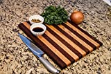striped cutting board - Oak & Walnut Wood Cutting Board HANDMADE IN USA-Large 15x11x3/4 in. Kitchen Butcher Block for Cheese, Meat, and Vegetables-100% CHEMICAL FREE SOLID ORGANIC HARDWOOD-FoodSafe Preparation & Serving Tray