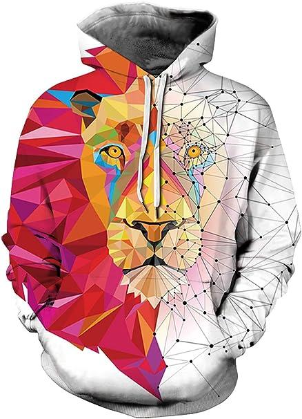 3D Felpa con Cappuccio Uomo Donna Felpe Unisex con Grafica Colorata Divertente Stampata Pullover Hoodie con Tasche