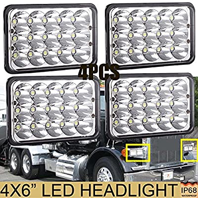 For Kenworth Peterbilt 386 340 365 384 385 357 379 372 4x6 LED Headlights Sealed Beam 6000K Super Bright Hi/Lo H4651 H4652 H4656 H4666 H6545 Pack-4