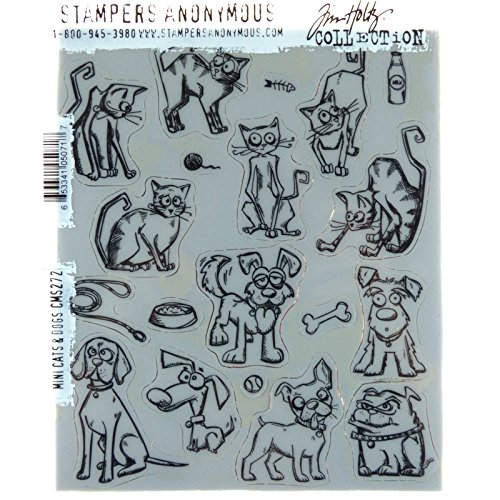 Stampers Anonymous Tim Holtz Cling Mount Stamps: Mini Cats and Dogs CMS272 by Stampers Anonymous