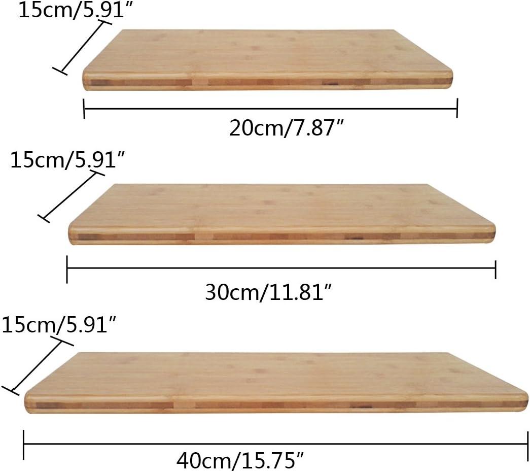 Freahap Wall Shelf Bamboo Wood Wall Display Storage Floating Shelf Rack S