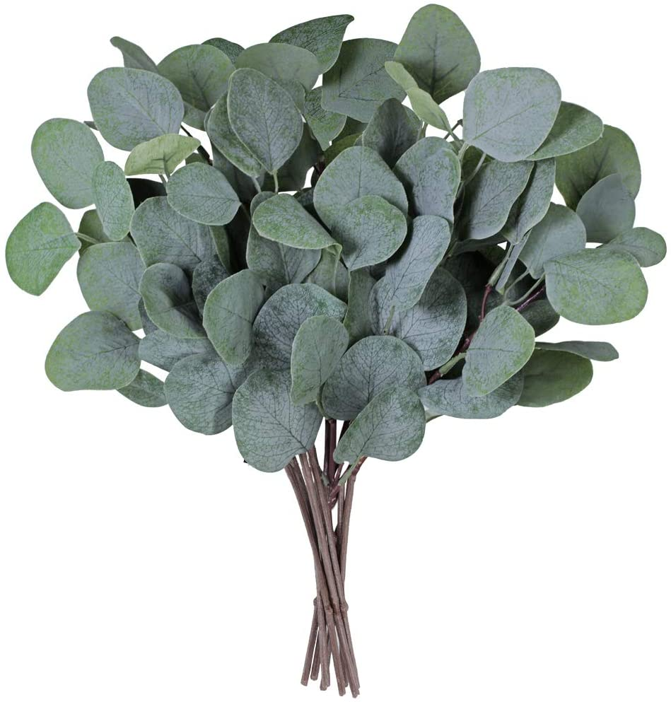 """Supla 10 Pcs Fake Eucalyptus Leaves Stems Bulk Artificial Silver Dollar Eucalyptus Leaves Plant in Grey Green 11.8"""" Tall Wedding Greenery Artificial Greenery Holiday Greens Floral Arrangement"""