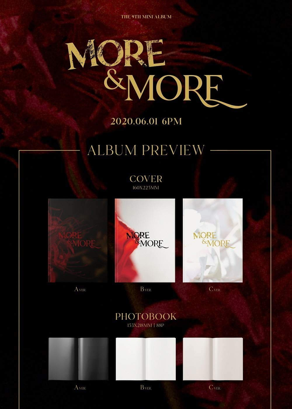 CD+Photobook+Folded Poster+Others with Extra Decorative Sticker Set Twice Photocard Set C ver. Pre Order 9th Mini Album More and More