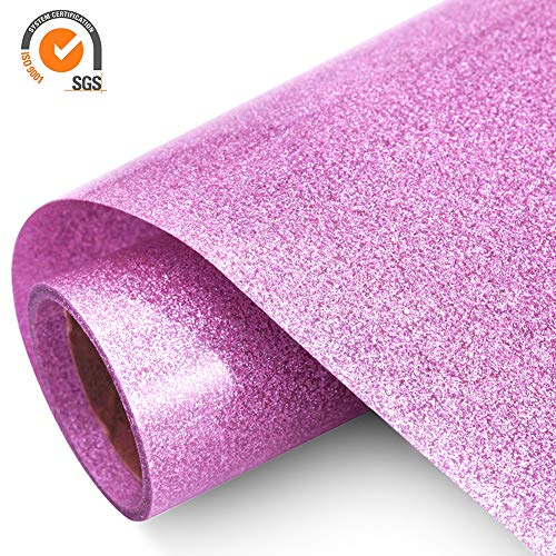 Glitter Heat Transfer Vinyl HTV Rolls 12in.x5ft. - Easy Weed Iron on HTV Vinyl Compatible with Silhouette Cameo & Cricut by TransWonder(Pink)