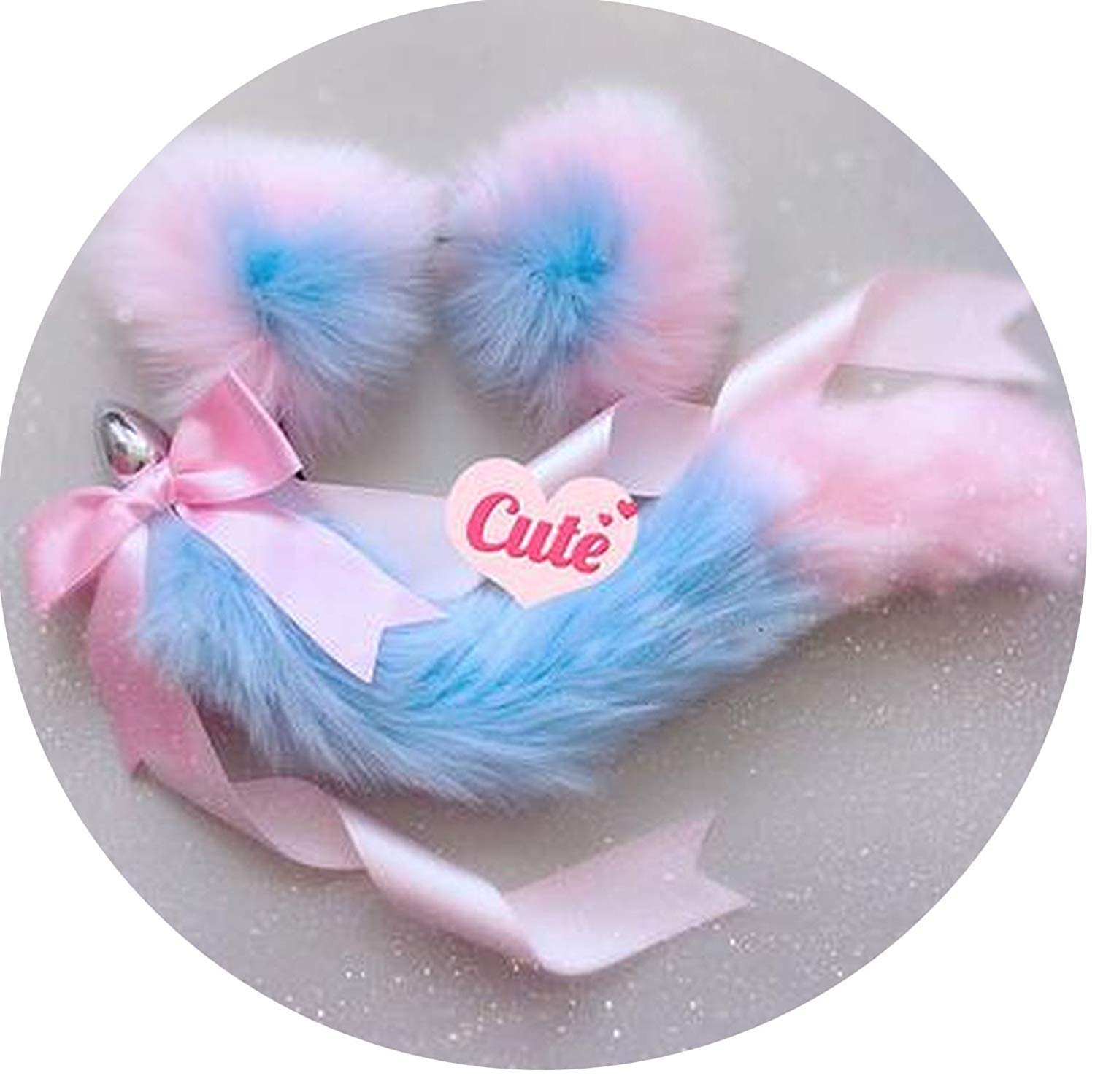Shirt-EDXSE Cute Soft Cat Ears HeadBūtt Mum Plug Exciting Cosplay Accessories AlluRing Happy Toys for Couples,Blue Pink