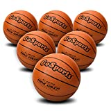 GoSports Indoor / Outdoor Rubber Basketballs - Six Pack of Size 6 with Pump & Carrying Bag