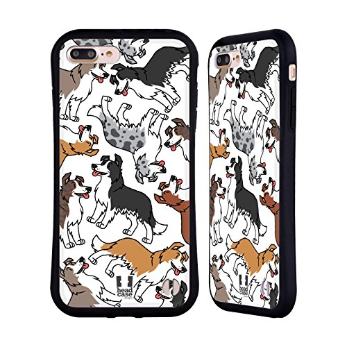 (Head Case Designs Border Collie Dog Breed Patterns 6 Hybrid Case for iPhone 7 Plus/iPhone 8 Plus)