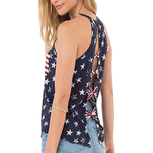 43ead0e40 Franterd Women American Flag Shirt with Pocket - USA Flag Stripe Stars  Sleeveless Patriotic Tank Top