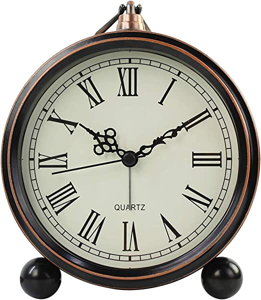 Battery Alarm Clock for Bedroom Antique Mantel Large Display Decorative Desk Clocks Non Ticking