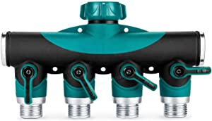 INSHERE Garden Hose Splitter,Garden Hose Adapter(4 Way),New and Improved - Outlet Splitte,100% Secured, Bolted & Threaded,Easy Grip,with 4 valves + 3 Rubber gaskets (4-Way)