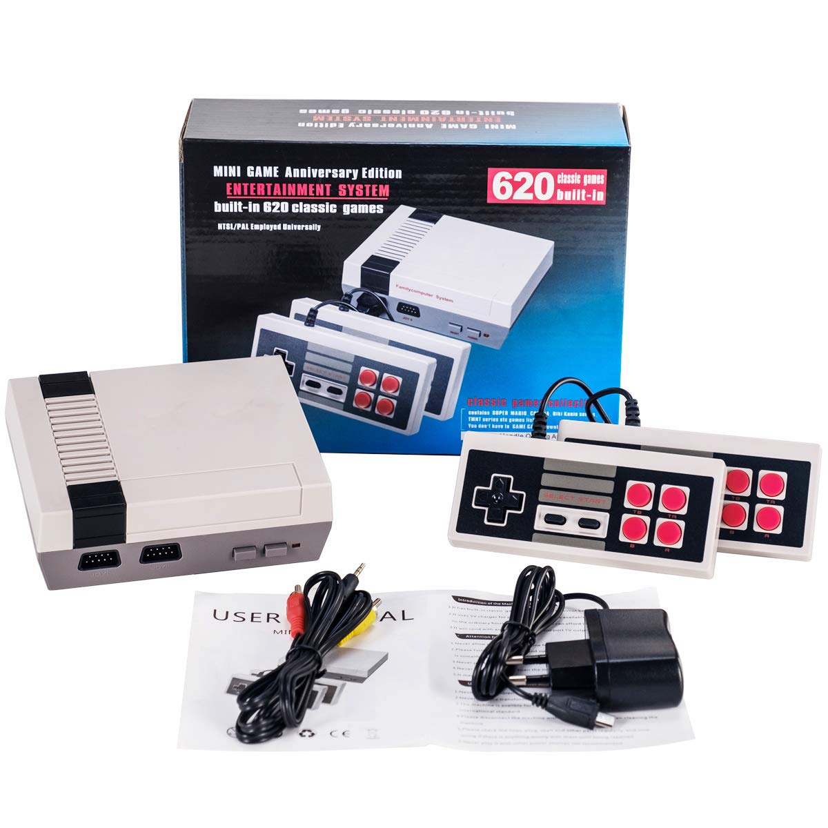 isopeen Handheld Retro Game Console Built-in 620 Classic Games Video Games 2 Gamepad for Dual Players HD AV Output (4 Buttons) by isopeen (Image #8)