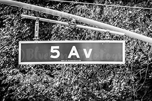 Fifth Avenue Street Sign, 5 Av, 5TH Ave Home, Wall Decor, New York City, Black and White. Sizes Available from 5x7 to - York Ave 5th New