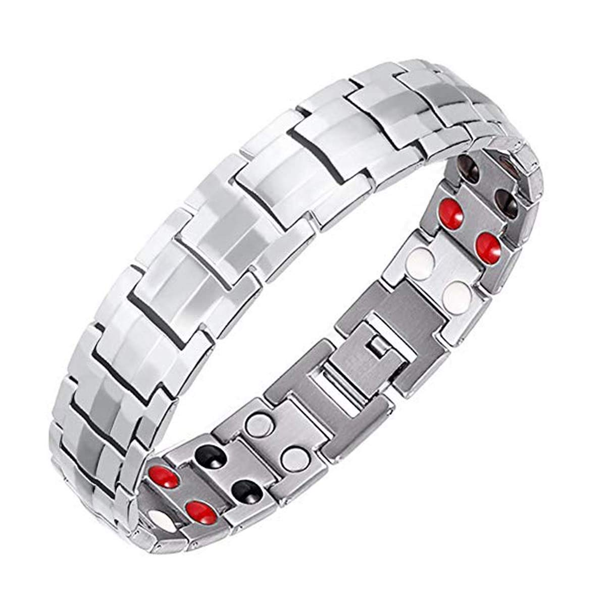 Vinca Mascot Mens Magnetic Therapy Bracelets Double Strong Health Magnets for Arthritis Pain Relief Father's Day, Silver