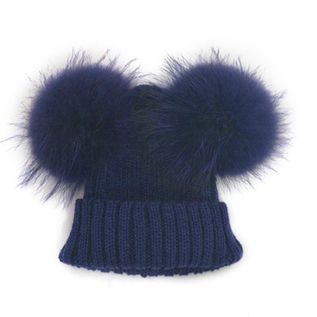 mioim Unisexe Chapeau De Bain D hiver Bonnet Tricoté Chapeau Faux Raton  Laveur Double Fourrure Pompon pour Bébé Fille Garçon DEHAZ 223435906 a4489d7f121