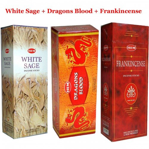 Bulk 360 Sticks HEM WHITE SAGE, FRANKINCENSE, DRAGONS BLOOD Incense, 3 Boxes - (360 sticks bulk per order)