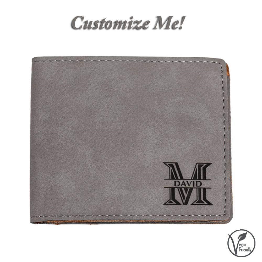 Emenar Custom Personalized Grey Wallet Vegan Leather Bifold Slim Wallet for Men, Perfect Gift, Gray