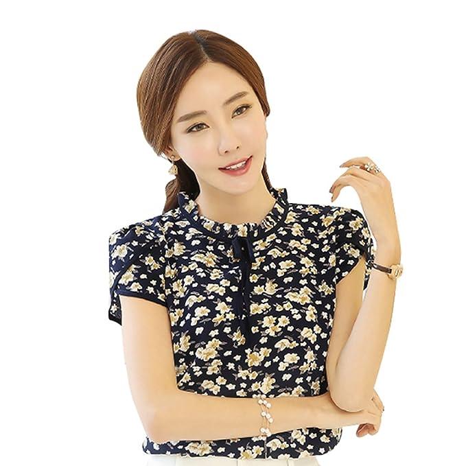 Blusa Mujer Verano,Impresión de flores Camisa de gasa con volantes OL elegante camisa de