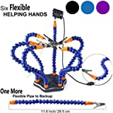 Flexible Helping Hands Soldering , Third Hand , Soldering Station Tool ( Flexible 7 Arms Helping Hands , Non-slip Aluminum Base , Built in Trays , Heat Resistant covers , 360 Degree Swiveling Clips , Brushless DC Fan ) by LITEBEE (Black)