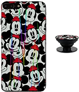 Mickey Mouse Faces iPhone 6 / 6s Case Shiny Laser Style Protective TPU Cover Soft Rubber Silicone with Phone Holder Bracket Compatible iPhone 6 6s (4.7 inch)
