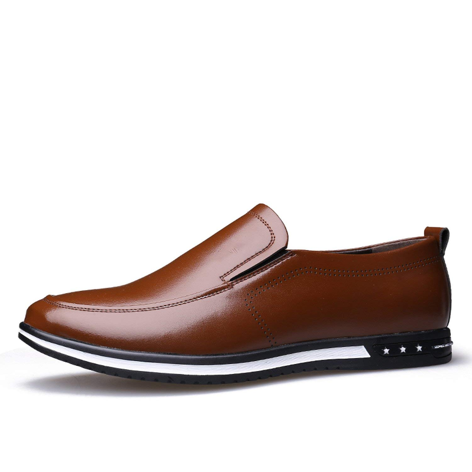 Brown no hollow OH WHY Men's shoes Casual Leather Breathable Slip on Loafers Summer shoes Man Flat Driving shoes
