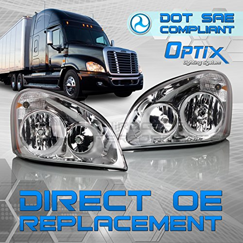 Optix Freightliner Cascadia Headlight - Driver Passenger Side Pair - DOT SAE Compliant - Direct OEM Replacement Lamp Housing for 2008-2017 Cascadia - Bulbs Not Included
