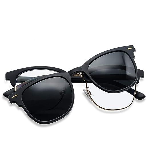 752f35201b1 Polarized Clip On Clubmaster Sunglasses (C1 Matte Black Frame Grey Lens)