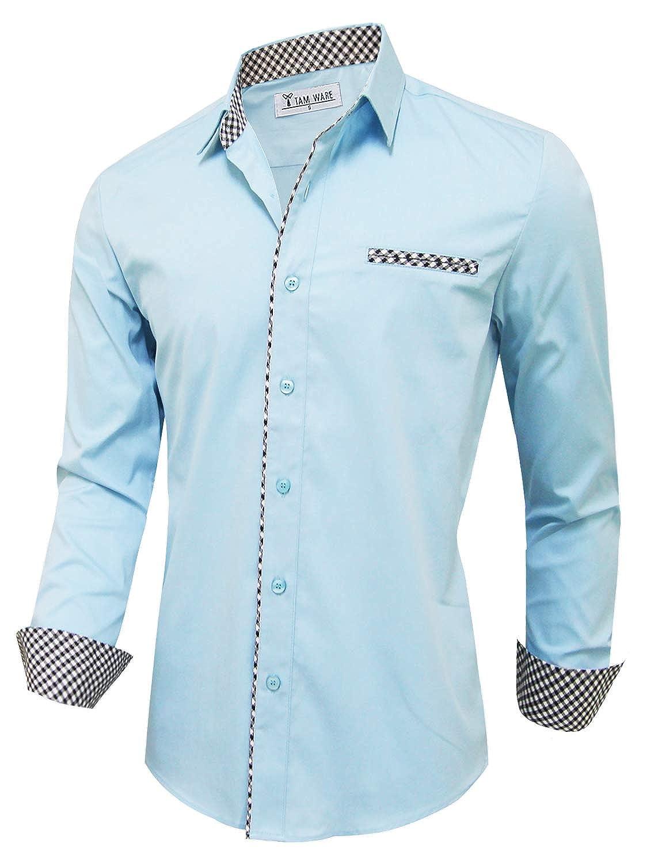 TAM WARE Mens Casual Inner Layered Long Sleeve Dress Shirt