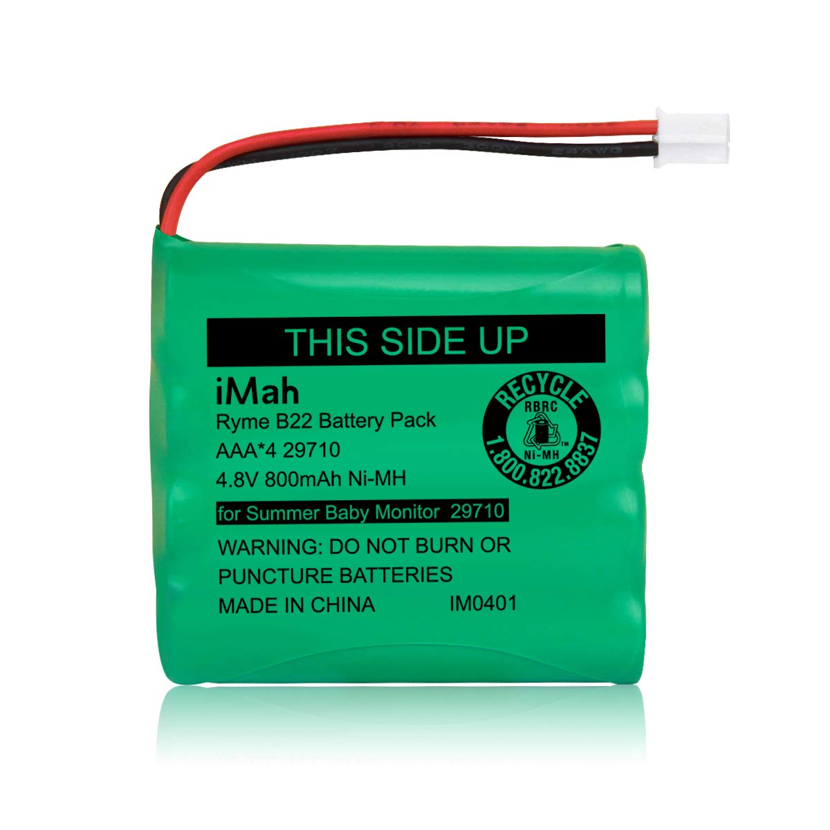 iMah Rechargeable Ni-MH AAA Size 4.8V 800mAh Battery 29580-10 29270-10 Compatible with Summer Infant Wide View 2.0 Baby Video Monitor 29580 29590 29610 29620 29630 29710 29740 29790 29940 36014 36034