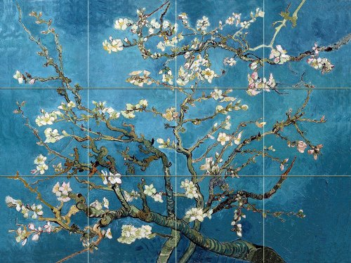 Art Mural Ceramic Accent Tile - FlekmanArt Blossoming Almond by Van Gogh Vincent - Art Ceramic Tile Mural 32