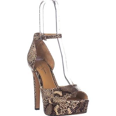 Jessica Simpson Beeya Neutral Snake High Platform Ankle Strap Peep Toe Pump | Pumps