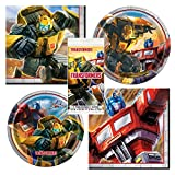 Unique Transformers Party Bundle | Luncheon & Beverage Napkins, Dinner & Dessert Plates, Table Cover | Great for Action/Robots/Movie Birthday Themed Parties